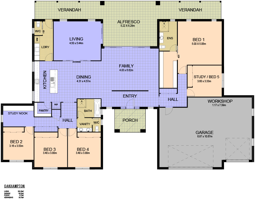 4 2 3 view floor plan download brochure - 4 Bedroom House Plans One Story For 2 Acres