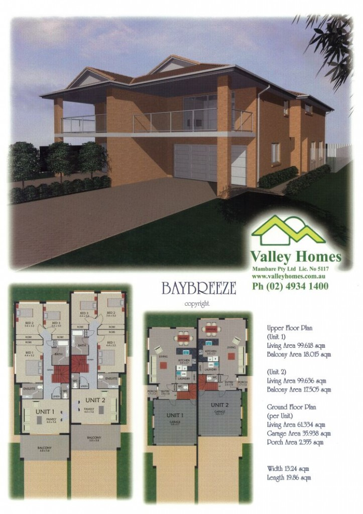Valley homes duplex plans designs for Duplex prices to build